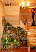 В зеленый оазис превратилось помещение под лестницей благодаря стараниям аква-дизайнеров компании Аква-Декор.
