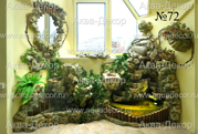 Самобытным решением в оформлении лоджии является декоративный водопад компании Аква-Декор. Пышная растительность, искусственный камень и кристальная вода в сочетании с нежно салатовыми стенами создают блестящую комбинацию.