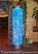 Водная панель в виде пузырьковой колонны с цветной подсветкой. Бегущие пузырьки создают игру света в толще воды.