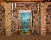 Декоративная водная панель украшает стенную нишу. Элементы отделки панели повторены в декоре стены.